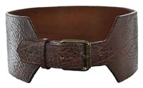 Calvin Klein Calvin Klein Womens Brown Wide Width Belt 2729 Textured Leather Casual