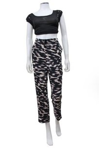 Calvin Klein Abstract Print Cropped High Waist Capri/Cropped Pants Multi-Color