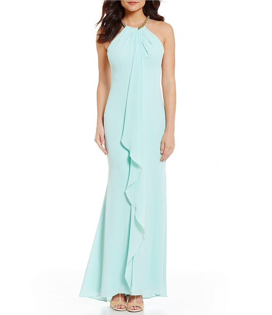 Calvin Klein Mint Beaded Neck Draped Ruffle Front Gown