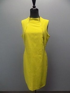 Calvin Klein Chartreuse Poly Blend Lined Sleeveless Sheath 1382a Dress