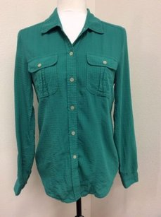 Calvin Klein Womens Petite Top Green