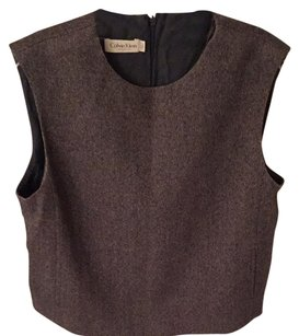 Calvin Klein Top Navy And Tan Tweed