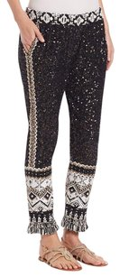 Calypso St. Barth Tamrita Sequin White Relaxed Pants Black