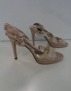 Caparros Satin Strappy Open Toe Slingback Stiletto Heels W Bow B3369 Beige Pumps