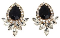 Cra Couture Jewelry Cara Couture Jewelry Black Stone and Clear Crystal Goldtone Pear Earrings