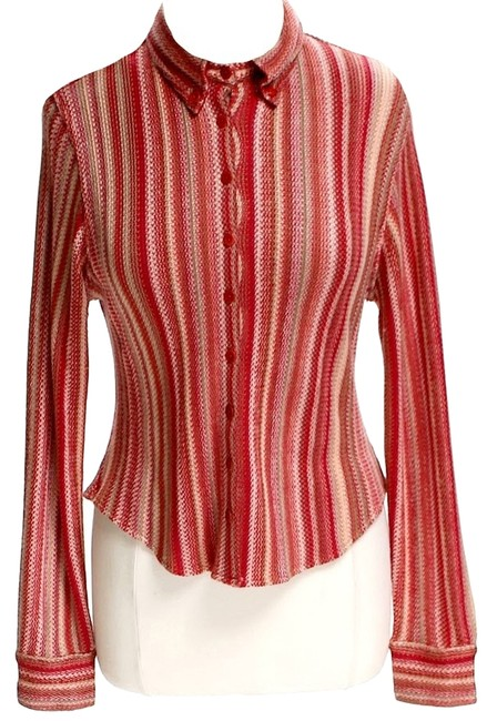 Preload https://item5.tradesy.com/images/carlisle-silk-knit-striped-button-down-top-size-12-l-10435594-0-1.jpg?width=400&height=650