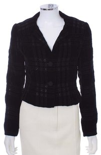 Carmen Marc Valvo Embellished Jacket Metallic Cropped BLACK Blazer