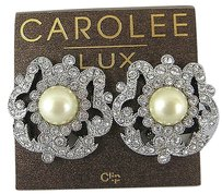 Carolee Carolee Lux Crystal Rhinestone Pearl Clip On Button Earrings Baroque Design