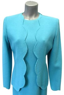 Carolina Herrera Carolina Herrera Turquoise Sheath Dress Wmatching Scalloped Edge Jacket