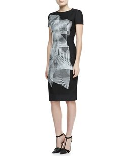 Carolina Herrera Sheath Print Monochrome Edgy Classic Dress