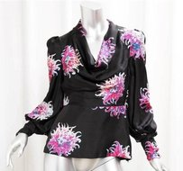 Carolina Herrera Silk Floral Cowl Neck Peplum Top Black