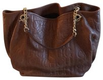 Carolina Herrera Tote in caramel brown with gold chain straps