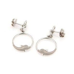 Carrera y Carrera Carrera Y Carrera 18k White Gold Circular Dolphin Dangle Earrings