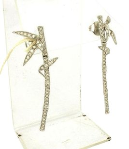 Carrera y Carrera Carrera Y Carrera 18k White Gold Diamond Bamboo Plant Leaf Drop Earrings