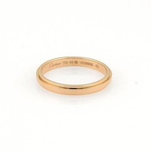 Cartier 18k Rose Gold Groove Wedding Band Ring Eu 49-us 4.75 Wcert.