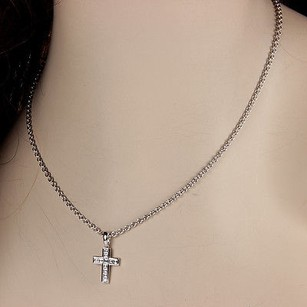 Cartier 18k White Gold Cartier 0.80ctw Diamond Cross Pendant Necklace - With Box