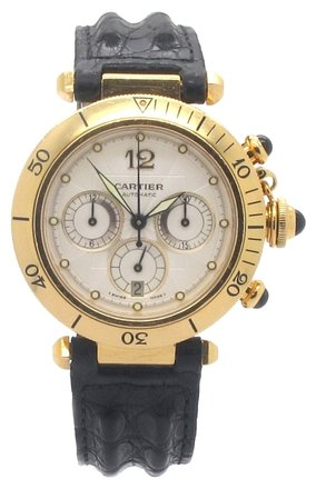 Cartier Cartier Pasha Chronograph 18K Yellow Gold White Dial Men's Watch