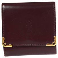 Cartier Auth MUST DE CARTIER Bifold Coin Purse Wallet Leather Bordeaux Vintage 03W379