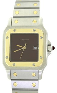 Cartier Authentic Cartier Santos Solid 18k Yellow Gold Stainless Steel Two Tone Bordeaux C 23.80 gr Dress Watch