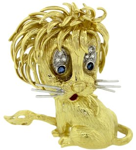 Cartier Authentic Cartier Solid 18k Yellow Gold .14ctw Diamond & Sapphire Whimsical Lion Cub Brooch Pin