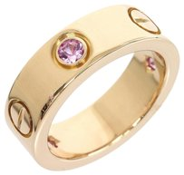 Cartier Cartier 18K Rose Pink Gold Half Pink Sapphire Love Ring US SIZE 3.625
