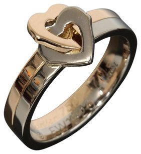 Cartier Cartier 18K Rose / White Gold Double Heart Band Ring US SIZE 4