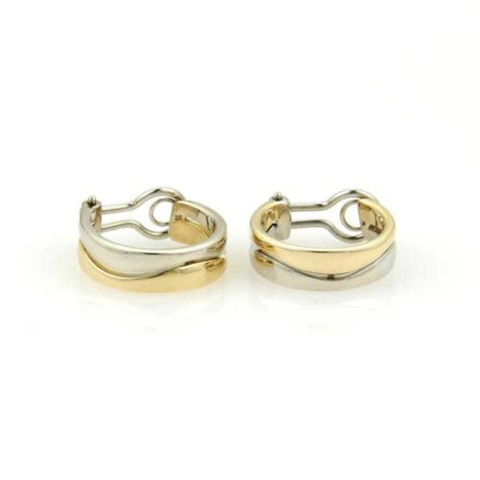 Cartier Cartier 18k Two Tone Gold Double Stack Band Wave Design Hoop  Earrings Wbox
