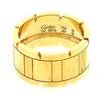 Cartier Cartier 18k Yellow Gold Mens Francaise Tank Ring