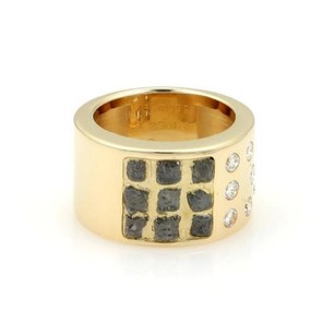 Cartier Cartier 18k Yellow Gold Rough Diamond 11mm Wide Band Ring Box Papers