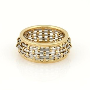 Cartier Cartier 18k Yellow Gold Steel Basket Weave Dome Band Ring 48-us