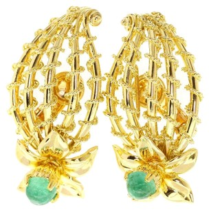 Cartier CARTIER 18K Yellow/Pink Gold 1946 Year Made Royal Tradition Emerald Earring