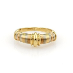 Cartier Cartier Aurore 18k Tri-color Gold Ribbed Design Ring Eu 52-us Wpaper