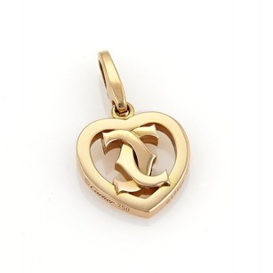 Cartier Cartier Double C 18k Rose Gold Heart Charm Pendant