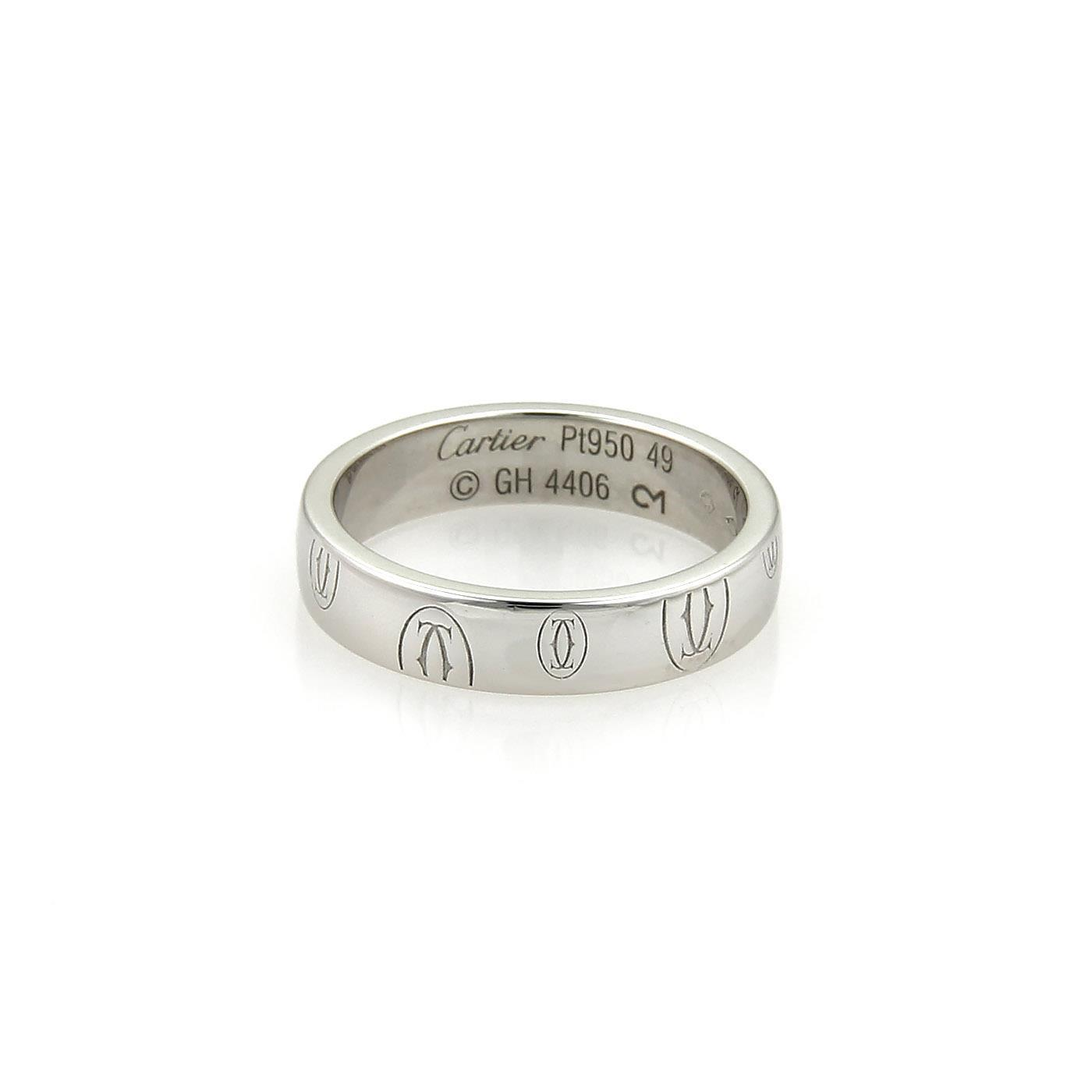 Cartier Cartier Happy Birthday Platinum Gold 4mm Band Ring Size 49-US 5 w/  ...