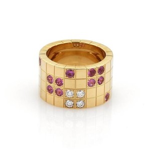 Cartier Cartier Payette Diamond Pink Sapphire 18k Yellow Gold Ring Eu 51-us Cert