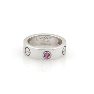 Cartier Cartier Love Pink Sapphires 18k White Gold 5.5mm Band Ring Eu 48-us