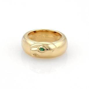Cartier Cartier Panther Emerald Band Ring 18k Yellow Gold Eu 50-us 5.25 Cert