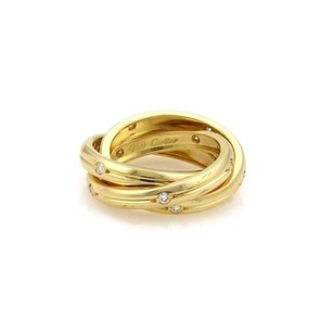 Cartier Cartier Trinity Diamonds 18k Yellow Gold 3mm Grooved Band Ring 48-us