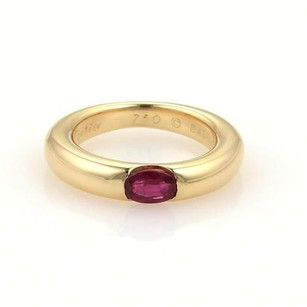 Cartier Cartier Ellipse Oval Ruby 18k Yellow Gold Band Ring Eu 47-us