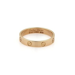 Cartier Cartier Mini Love 18k Rose Gold 4mm Band Ring Eu 62-us Wcert.