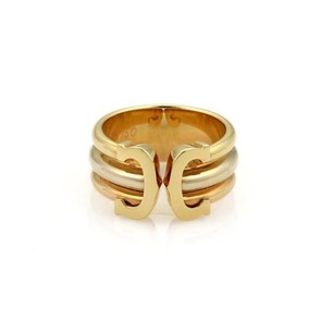 Cartier Cartier Double C 18k Tri-color Gold Open Band Ring Eu 52-us Cert