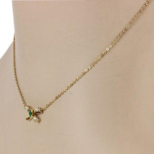 Cartier Cartier 18k Yellow Gold Emerald Cabochon Diamond Bow Tie Pendant Necklace
