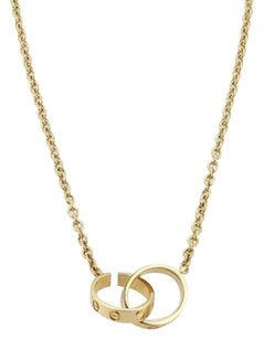 Cartier Cartier Love 18k Yellow Gold Mini Double Ring Clasp Pendant Chain Necklace