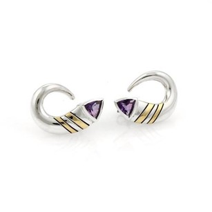 Cartier Cartier Vintage 1.50ct Amethyst 18k Gold Silver Curved Shape Earrings