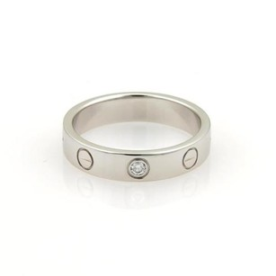 Cartier Cartier Love Mini 1 Diamond 18k White Gold 4mm Band Ring Eu 51-us 5.75