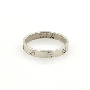 Cartier Cartier Mini Love Platinum 4mm Wide Band Ring Eu 61-us Wcert.