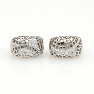 Cartier Cartier Nouvelle Vague Diamonds 18k White Gold Web Design Huggie Earrings