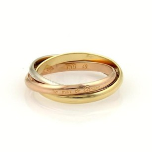 Cartier Cartier Trinity 18k Tri-color Gold 2mm Rolling Band Ring Eu 49-us