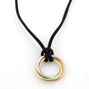 Cartier Cartier Trinity 18k Tri-color Gold Triple Interlaced Ring Pendant Cord Necklace