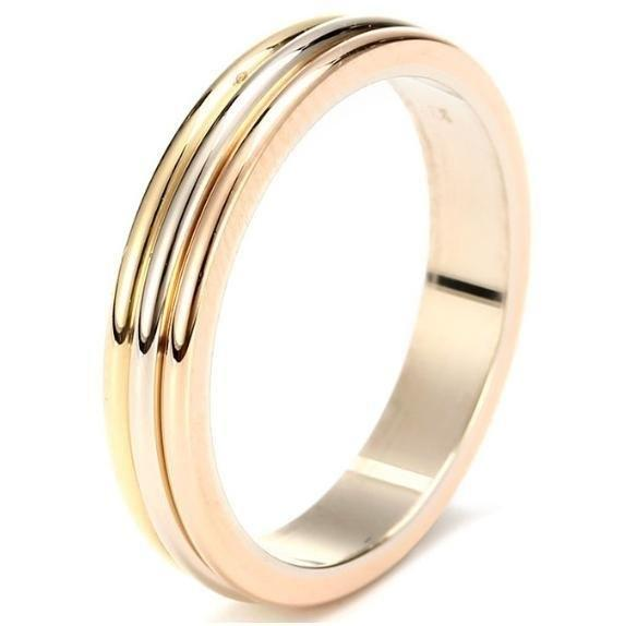 Cartier Trinity Wedding Ring: Cartier Trinity Wedding Band 18k Three Gold Ring B4052266